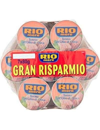 RIO MARE OLIO D'OLIVA 7X80GR TONNO GR 560