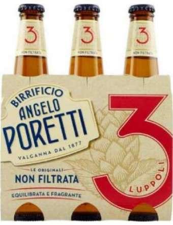 BIRRA PORETTI 3 LUPPOLI NON FILTRATA 3X33 CL